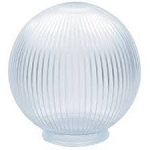 12 Inch Clear Acrylic Prismatic Lamp Post Globe with 3.91 Inch Solid Flange