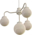 Four Globe Chandelier -  7.5 inch white globes (4) with white housing