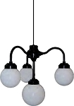 Four Globe Chandelier -  7.5 inch white globes (4) with black housing