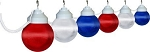 6 inch patriotic lights acrylic prismatic globe with white housing- 6 globes