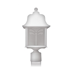 Decorative Post Fixture with White Housing and Frosted Lens - 83061