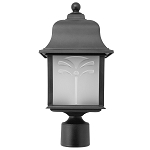 Decorative Post Fixture with Black Housing and Frosted Lens - 83065