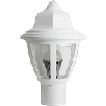 Decorative Post Fixture with White Housing and Clear Lens - 84391