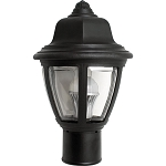 Decorative Post Fixture with Black Housing and Clear Lens - 84395