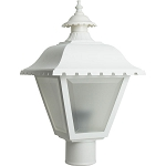 Decorative Post Fixture with White Housing and Frosted Lens - 84461