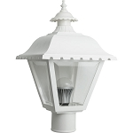 Decorative Post Fixture with White Housing and Clear Lens - 84491