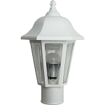 Decorative Post Fixture with White Housing and Clear Lens - 85091