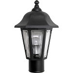 Decorative Post Fixture with Black Housing and Clear Lens - 85095