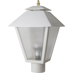 Decorative Post Fixture with White Housing and Frosted Lens - 85461