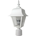 Decorative Post Fixture with White Housing and Clear Lens - 86091