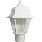 Decorative Post Fixture with White Housing and Clear Lens - 86191