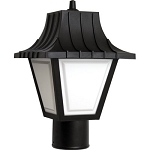 Decorative Post Fixture with Black Housing and White Lens - 86215