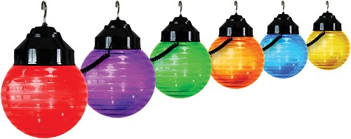 6 inch festival lights acrylic striped globe with black housing- 6 globes