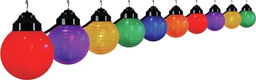 6 inch festival lights acrylic striped globe with black housing- 10 globes