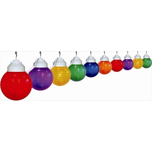 6 inch festival lights acrylic striped globe with white housing- 10 globes