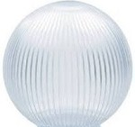 18 Inch Clear Acrylic Prismatic Neckless Lamp Post Globe with 5.25 Inch Opening