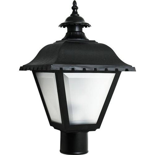 Decorative Post Fixture with Black Housing and Frosted Lens - 84465