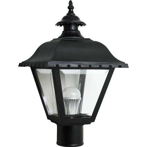 Decorative Post Fixture with Black Housing and Clear Lens - 84495