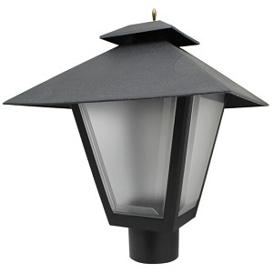 Decorative Post Fixture with Black Housing and Frosted Lens - 85565
