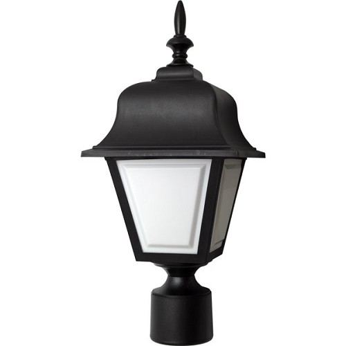Decorative Post Fixture with Black Housing and White Lens - 86015