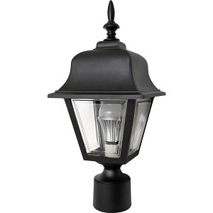 Decorative Post Fixture with Black Housing and Clear Lens - 86095