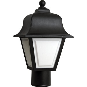 Decorative Post Fixture with Black Housing and White Lens - 86115