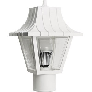 Decorative Post Fixture with White Housing and Clear Lens - 86291