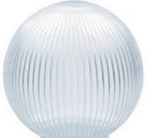 Clear Acrylic Prismatic 8 Inch Lamp Post Globe with 3.50 Inch Opening