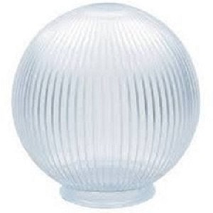 Clear Acrylic Prismatic 8 Inch Lamp Post Globe with 3.24 Inch Threaded Neck