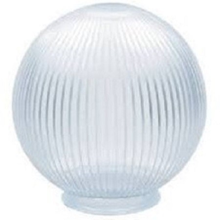 Clear Acrylic Prismatic 6 Inch Lamp Post Globe with 3.24 Inch Threaded Neck