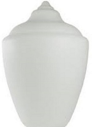16 Inch White Polyethylene Acorn Lamp Post Globes, Neckless with 5.25 Inch Opening