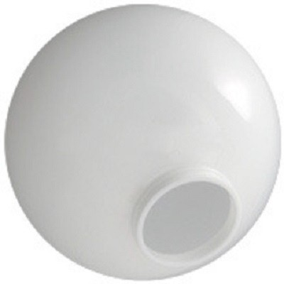 10 Inch White Polycarbonate Lamp Post Globe with 3.91 Inch Solid Flange