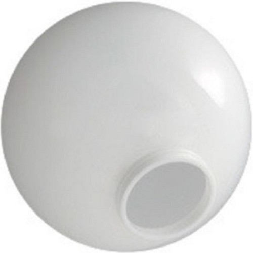 12 Inch White Acrylic Lamp Post Globe with 3.91 Inch Solid Flange